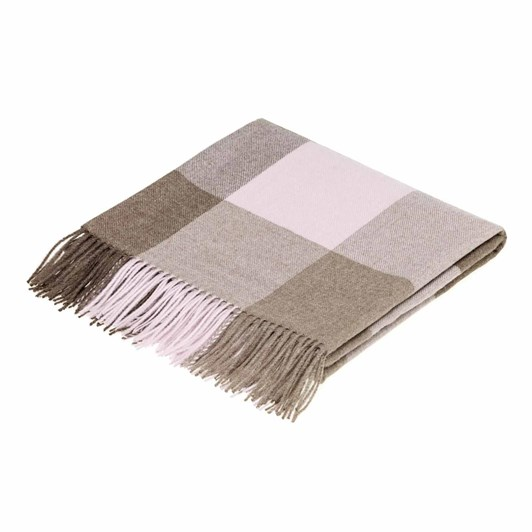 Bronte Distinction Collection Alpaca Check Chocolate Pink Throw 130 x 200cm