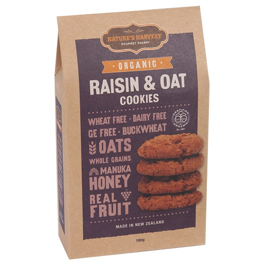 Nature's Harvest Organic Raisin & Oat Cookies 180g