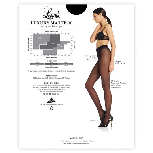 Levante Luxury Matt 30 Semi-Opaque Pantihose