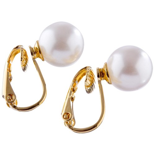 Charm Gold 8mm Pearl Clip On
