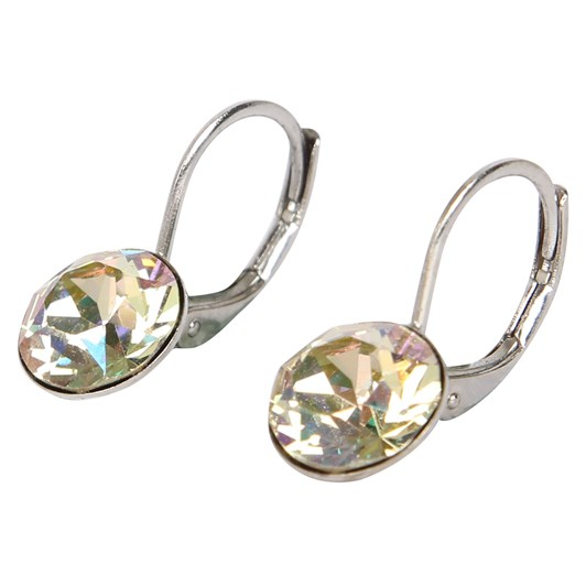 Dambeck Small Loop Earrings with 9mm Swarovski Crystal, Silver Plated