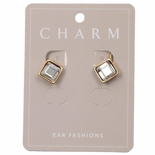 Charm Gold Clip Hoop Diamonds