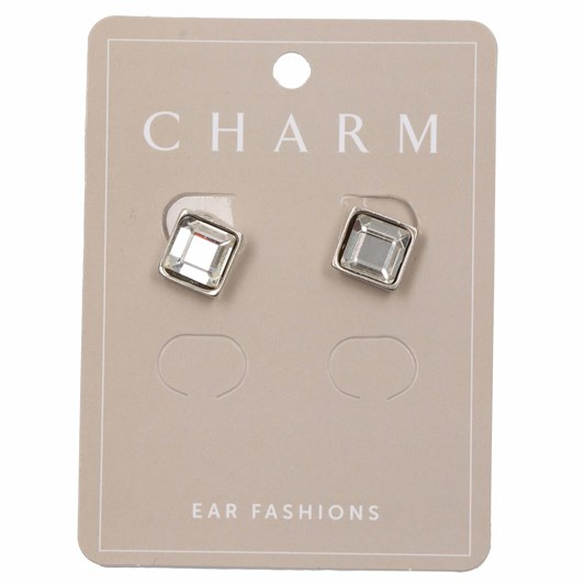Charm Silver Clip Hoop W Diamond