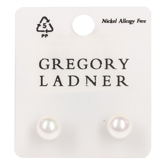 Gregory Ladner E/R - 10mm White Ab Pearl Stud Rhodium