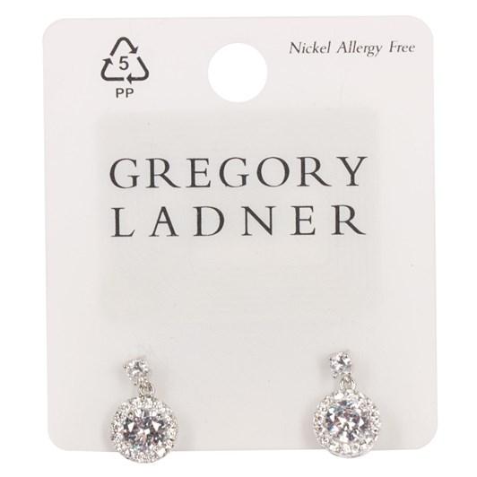 Gregory Ladner E/R - Cz 1.5cm Round Drop Rhodium