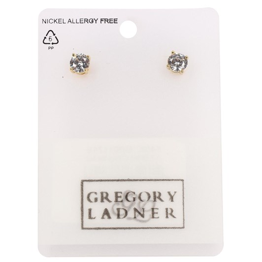 Gregory Ladner  E/R - Cz 6mm Round Stud Gold