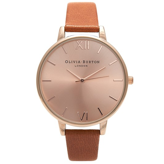 Olivia Burton Big Dial Tan & Rose Gold