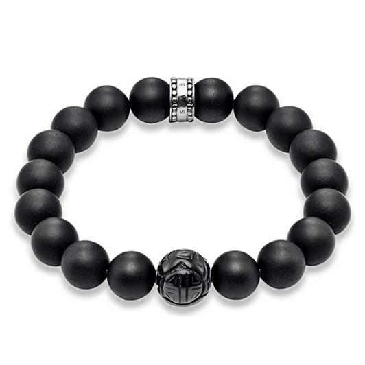 Thomas Sabo #1A Matt Obsidian Carved Bead Bracelet