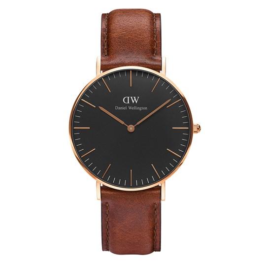 Daniel Wellington Classic Black Watches Rose Gold St Mawes 36Mm