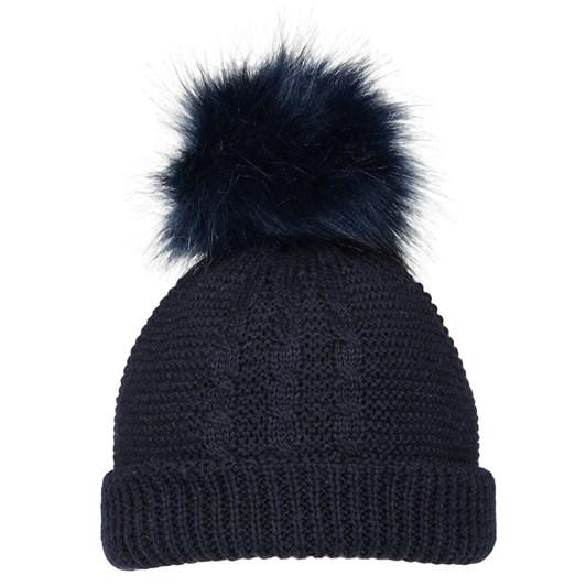 Ballantynes Pull On Wool Hat With Faux Fur Pom Pom