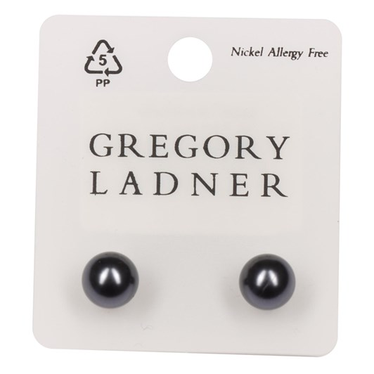 Gregory Ladner P.E/R 10Mm Grey Pearl Stud Rhodium