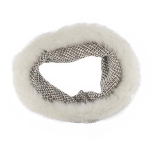 Dents Lurex Thread Contrast Knit Eternity Scarf With Faux Fur Trim