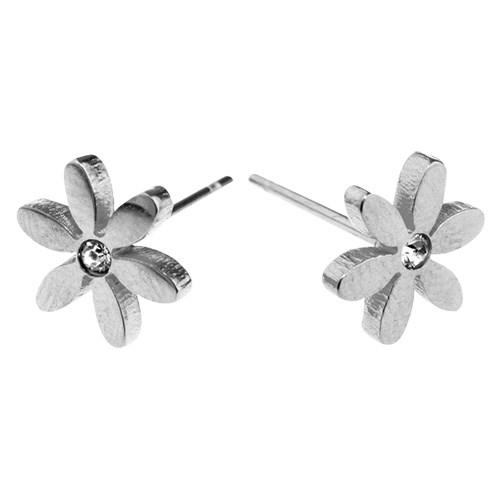 Glamuzina Steel Petal Flower W Crystal