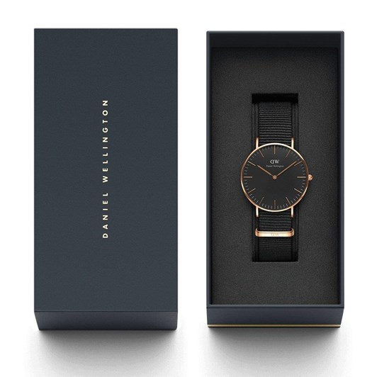Daniel Wellington Classic Black Dial Cornwall Nato Rose Gold 40mm