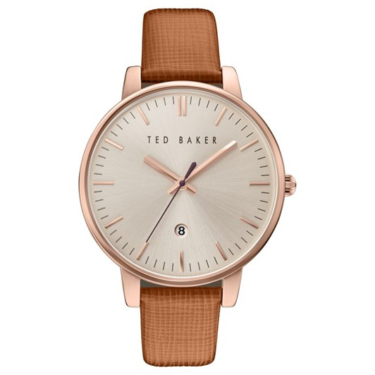 Ted Baker Watches 3H Rgld Slv Brn Lt Strap