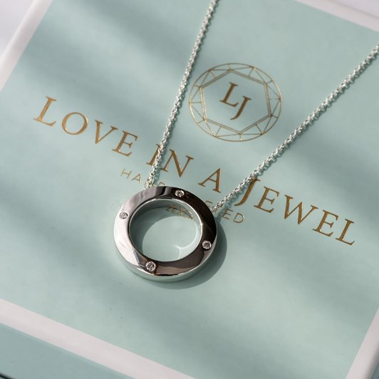 Love In A Jewel The Circle Of Love Pendant (Silver) with Crystal