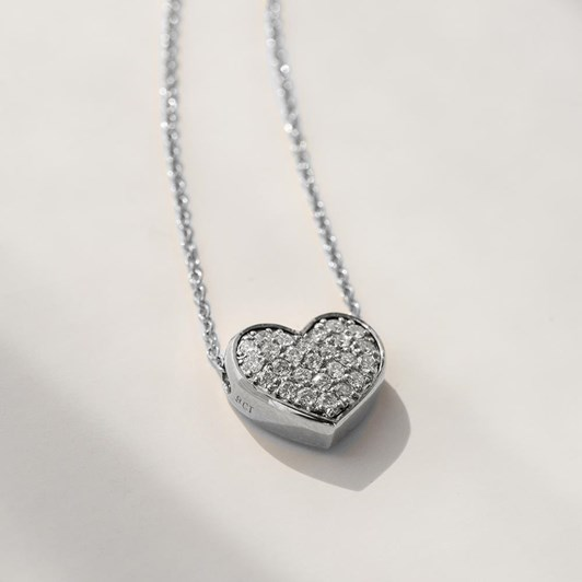 Love In A Jewel The Full Heart Pendant (Silver) with Crystals