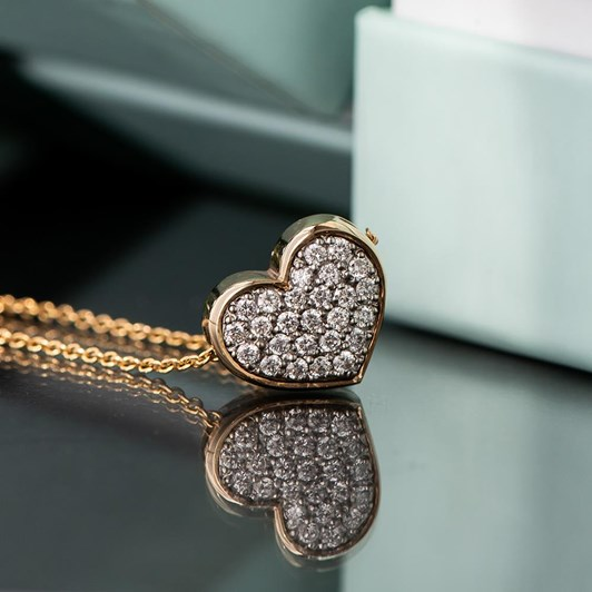 Love In A Jewel The Gold Full Heart Pendant (Yellow Gold) with Diamonds