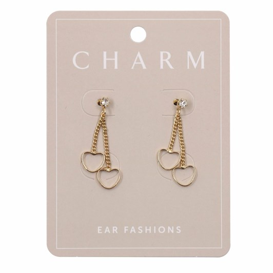 Charm Gold Double Heart Drop