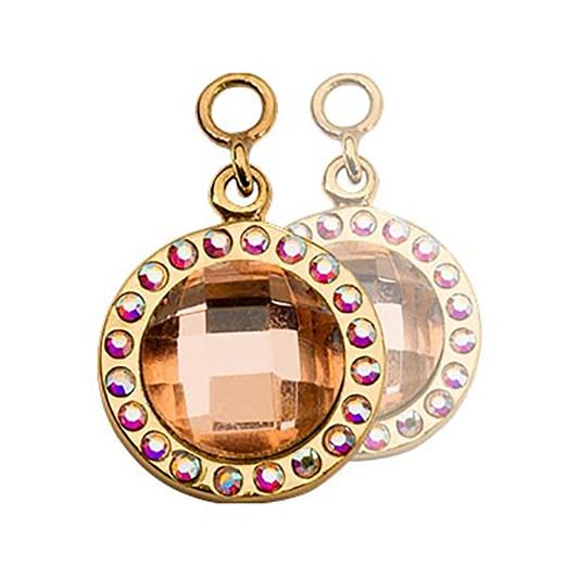 Nikki Lissoni Chic Peach Glass G/P 14Mm Earring
