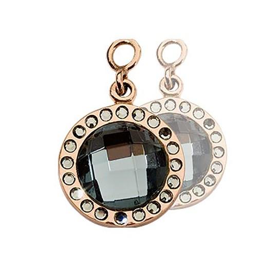 Nikki Lissoni Chic Grey Glass Rosé G/P 14Mm Earring