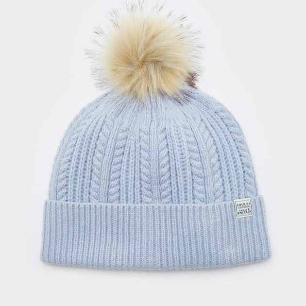 82dc575ad95 Hats - Joules Fine Cable With Faux Fur Pom - Ballantynes Department ...