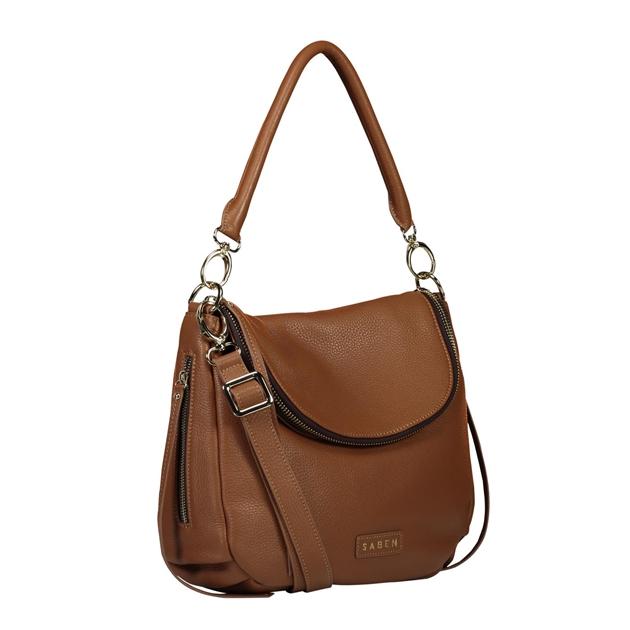 Saben Frankie Leather Handbag - chestnut