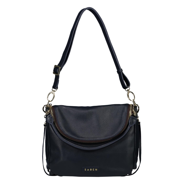 Saben Frankie Leather Handbag - navy