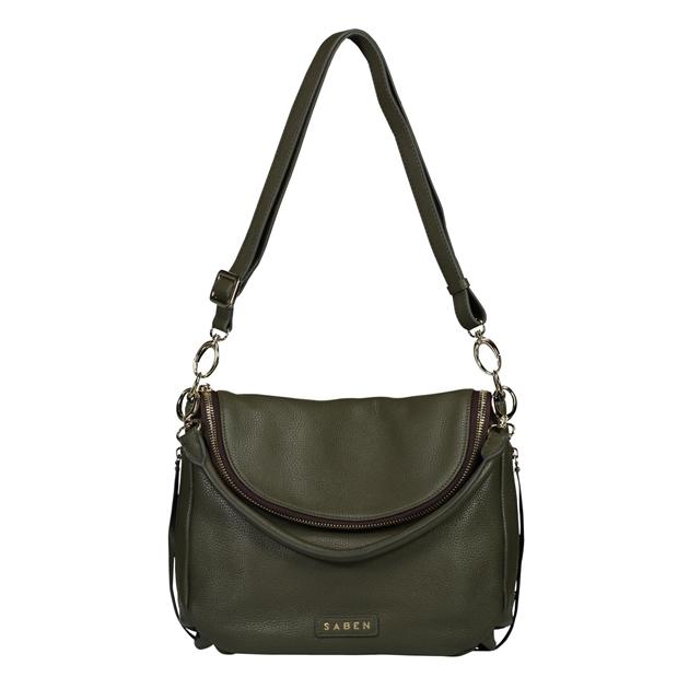 Saben Frankie Leather Handbag - slate green