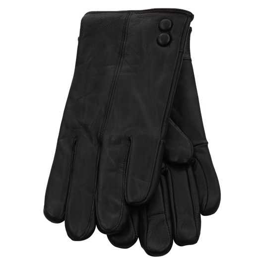 Jendi Leather Glove With 2Button Detail
