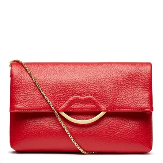 Lulu Guinness Grainy Half Covered Lip Issy Red Leather Clutch