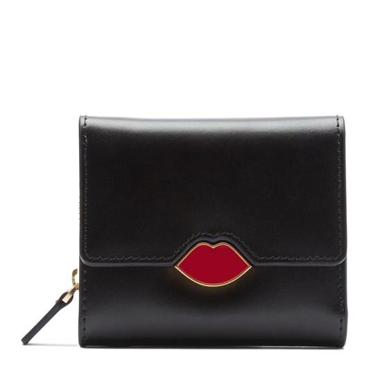 Lulu Guinness Pop Up Lip Saffie Black Leather Wallet