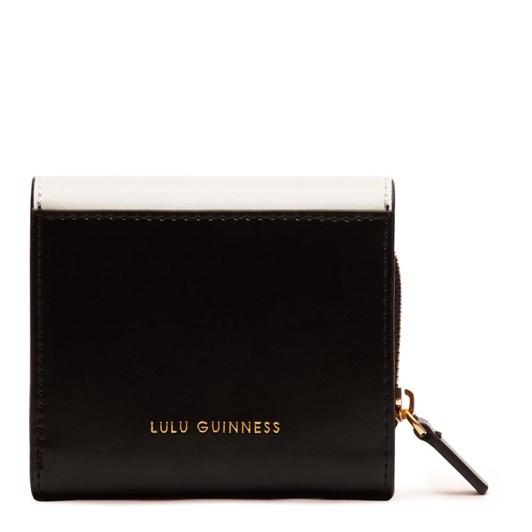 Lulu Guinness Lipstick Lock Saffie Black Chalk Leather Wallet