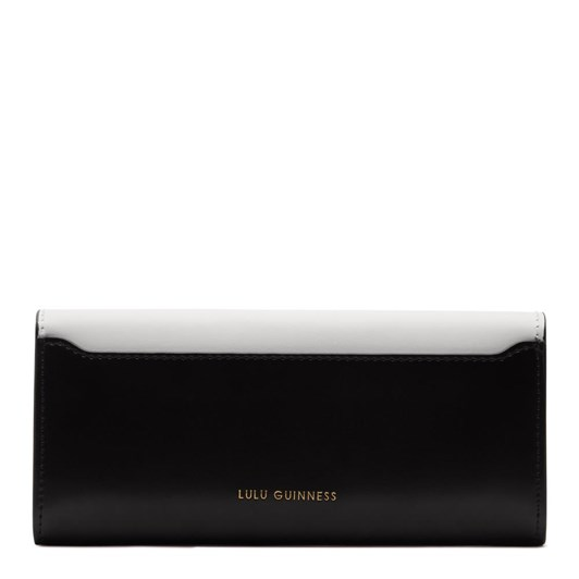 Lulu Guinness Lipstick Lock Cora Black Chalk Leather Wallet