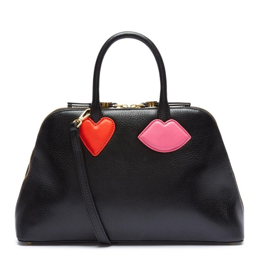 Lulu Guinness Small Hearts & Lips Bibette Black Leather Bag