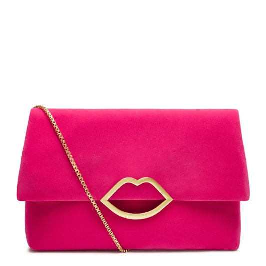 Lulu Guinness Velvet Half Covered Lip Issy Hot Pink Clutch