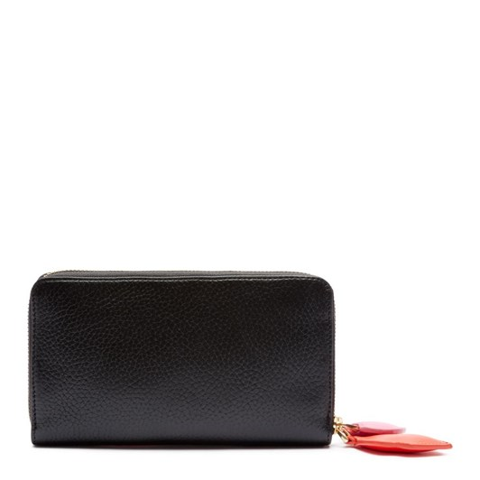 Lulu Guinness Hearts & Lips Continental Black Leather Wallet