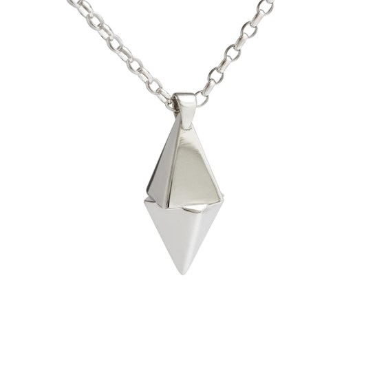 Black Matter Twisted Pyramid Pendant In Sterling Silver With 65Cm Chain