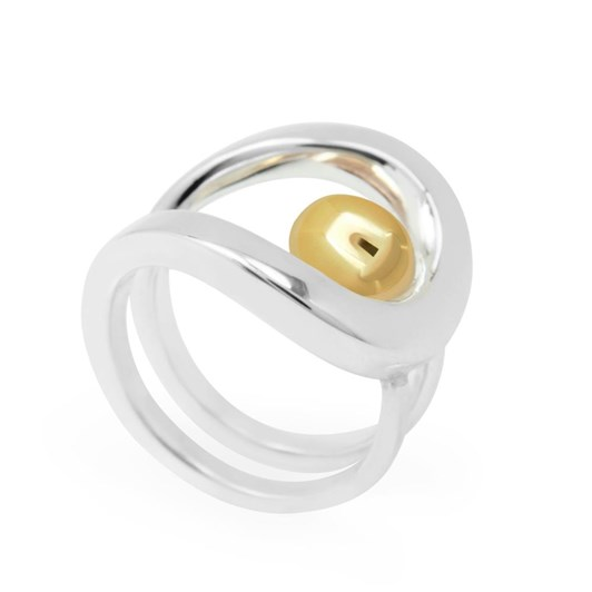 Black Matter Ring In Stg & 9Ct Gold