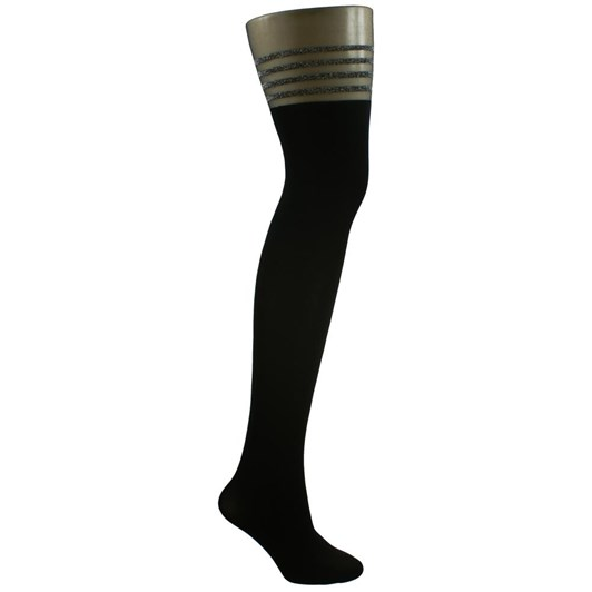 Columbine Glitter Stripe Top Tights