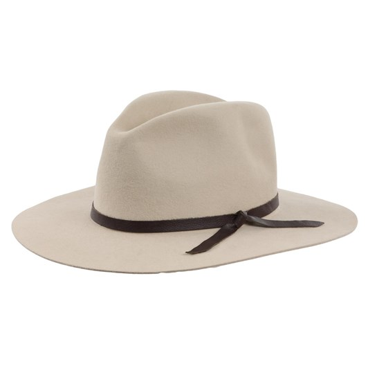 Hills Hat Fedora Crown Flat Brim With Thin Tied Leather Trim