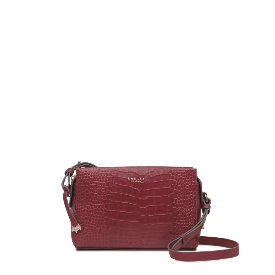 Radley Abbotsford House Small Crossbody Ziptop Leather Bag - claret fauxcroc