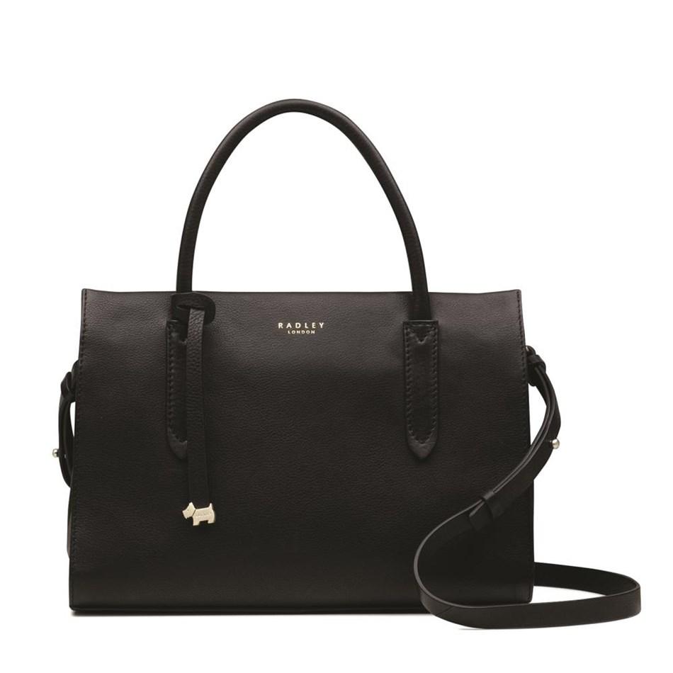 Radley Arlington Court Medium Multiway Grab Compartment Leather Bag - black