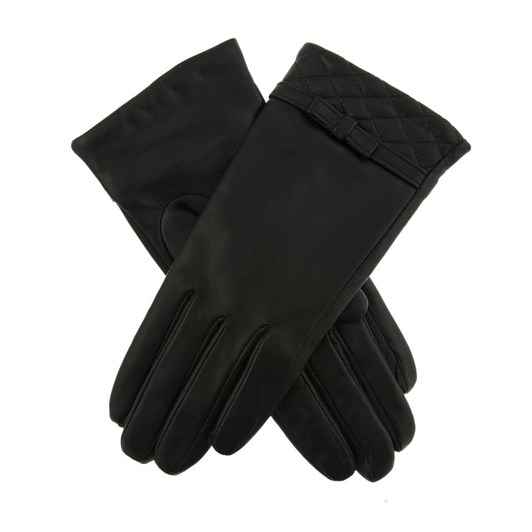 Dents Ladies Leather Glove With Quilted Cuff And Leather Bow