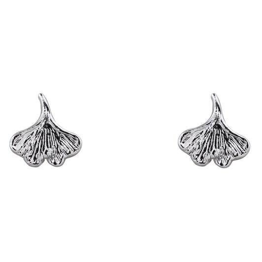 Short Story Earring Ginko Leaf Silver