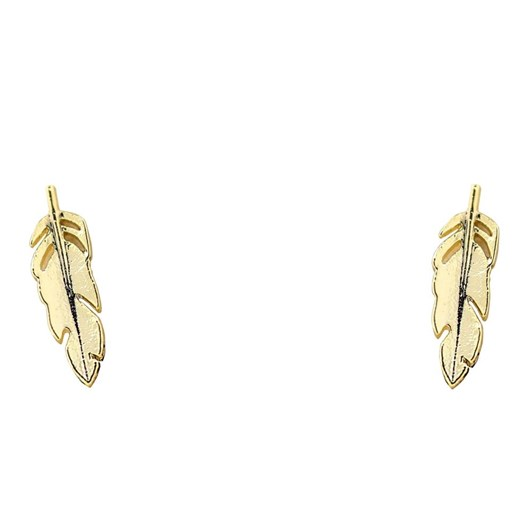 Short Story Earring Feather Gold