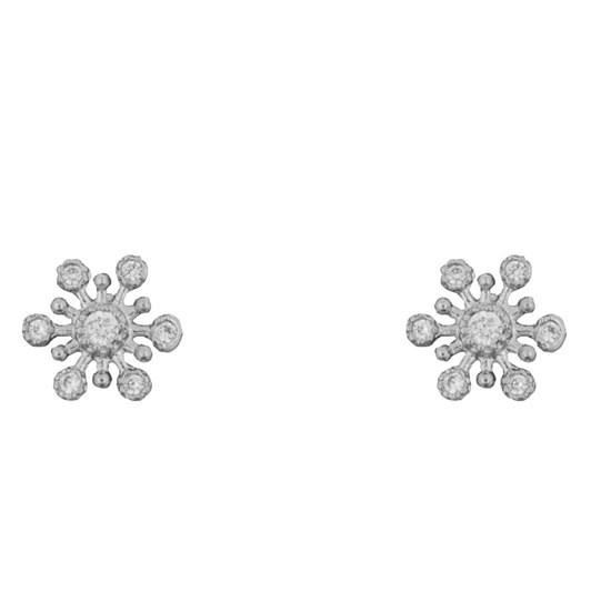 Short Story Earring Snowflake Diamante Silver