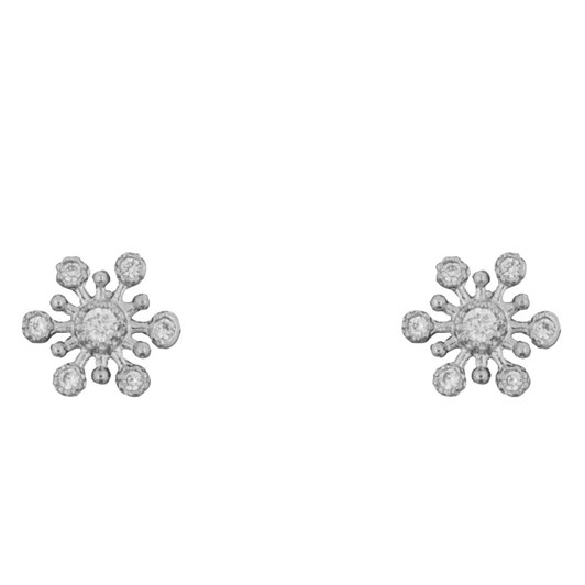 Short Story Earring Snowflake Diamante Silver