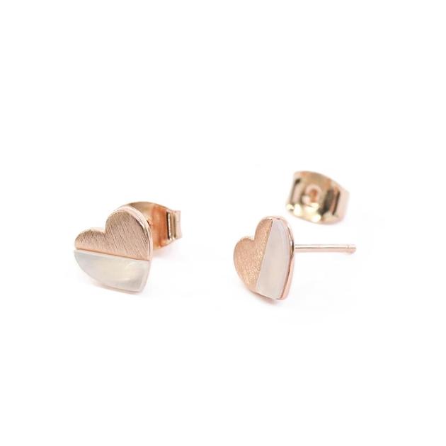 Short Story Earring 925 Heart Rose Gold - na