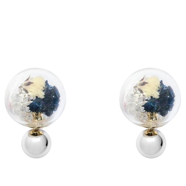 Short Story Bubble Stud Flower Blue -